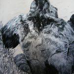 """Tableau représentant un gorille que l'on appelle """"Dos argenté""""."""