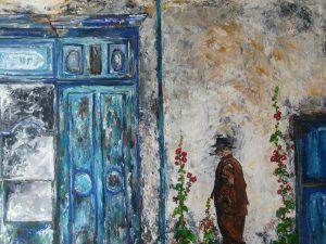 Tableau réalisé à l'acrylique représentant l'ambiance de l'ile de Ré avec ses couleurs de blanc, bleu, et ses célèbres roses trémières.